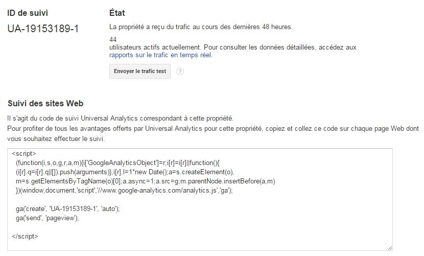 code par défaut Google Analytics