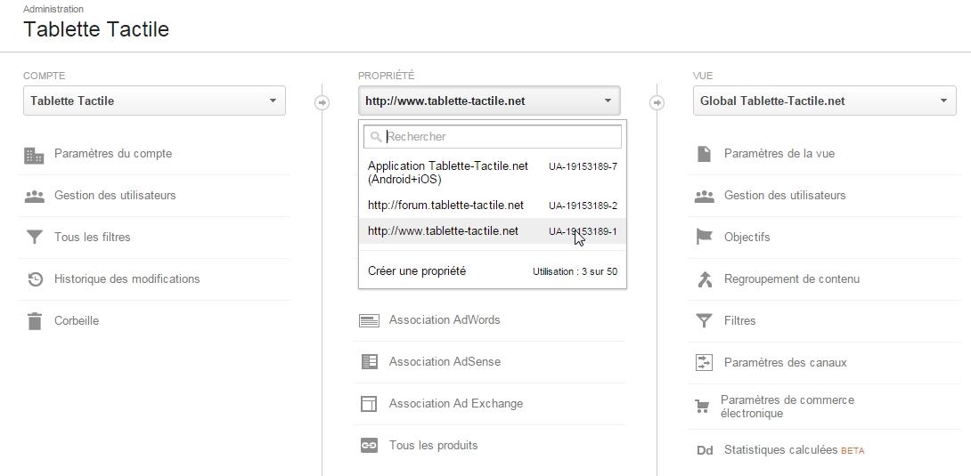 Structure des comptes Google Analytcs pour Tablette-Tactile.net
