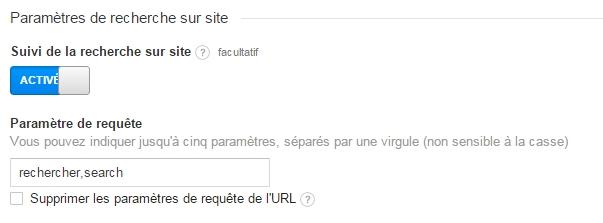 Le suivi de la recherche sur le site