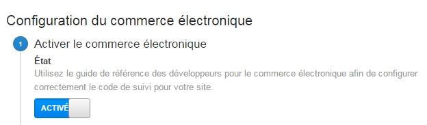 Activez les rapports de commerce électronique